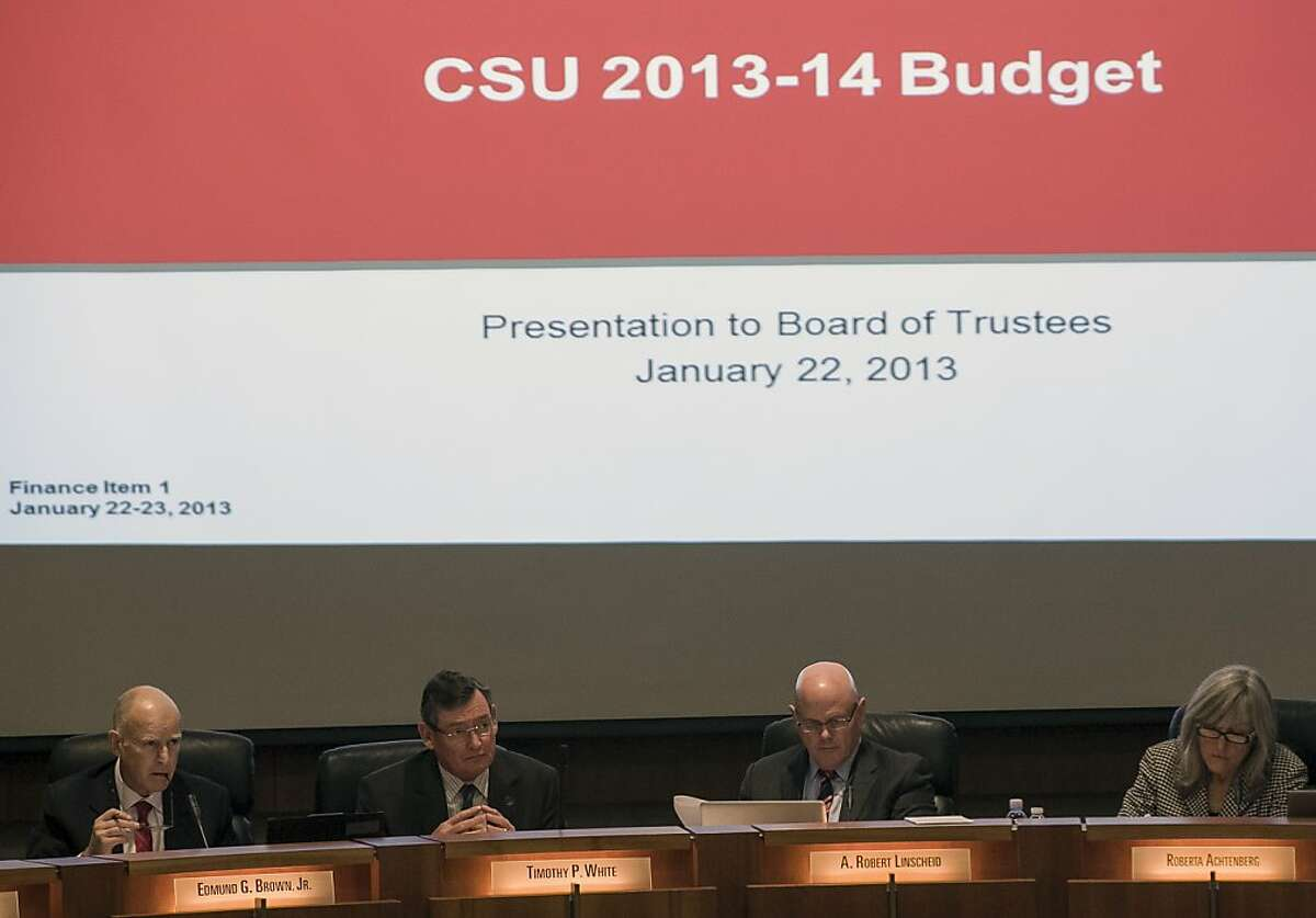 California Gov. Jerry Brown, far left, attends the California State University Board of Trustees meeting to push for the 2013-14 proposed budget, online education and cuts in administrative expenses, and its potential effects at the CSU chancellor's office in Long Beach, Calif., Tuesday, Jan. 22, 2013. From left: Gov. Brown, Timothy White, chancellor of the University of California, A. Robert Linscheid, chair, and Roberta Achtenberg, appointed member. (AP Photo/Damian Dovarganes)