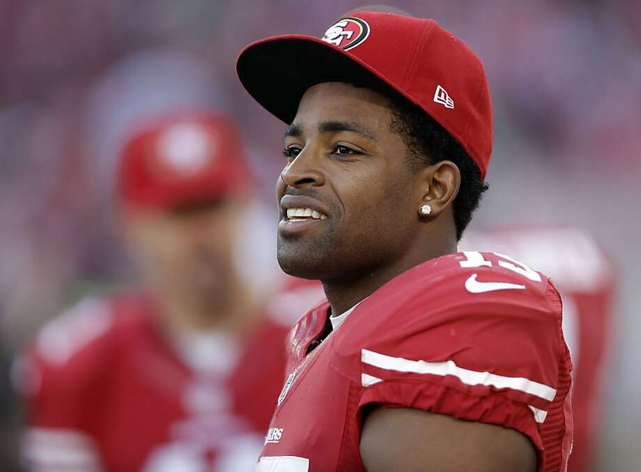 San Francisco 49ers wide receiver Michael Crabtree (15) looks on from the sideline during an NFL football game against the Arizona Cardinals in San Francisco, Sunday, Dec. 30, 2012.  (AP Photo/Marcio Jose Sanchez) Photo: Marcio Jose Sanchez, Associated Press