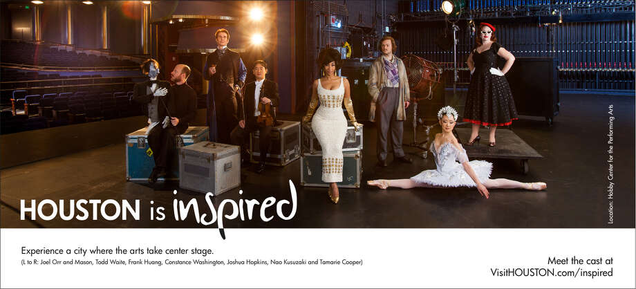 Local performers, from left, Joel Orr (and Mason, the puppet), Todd Waite, Frank Huang, Constance Washington, Joshua Hopkins, Nao Kusuzaki and Tamarie Cooper pose for this photograph at the Hobby Center for the Performing Arts. The photo will be part of the Greater Houston Convention and Visitors Bureau ad campaign that begins Feb. 14, 2013. Photo: Julie Soefer, For Greater Houston CVB / handout
