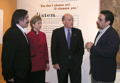 Henry Muñoz, founding chair Museo Americano, Laura Sanford, president, SBC foundation, Bill Daley, president, SBC community initiatives Inc., and Jon Hinojosa, executive director SaySi, were at SBC Gallery on January 16, 2004, for the Tejano Voices exhibit.  Photo: LELAND A. OUTZ, SPECIAL TO THE EXPRESS-NEWS / SAN ANTONIO EXPRESS-NEWS