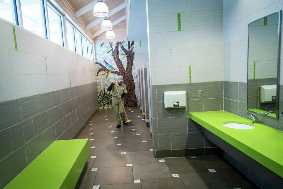 Restrooms at the Chambers County safety rest area near Hankamer reflect the location. Cheryl McDaniel makes sure it stays spotless. Photo: Michael Paulsen, Staff / © 2013 Houston Chronicle