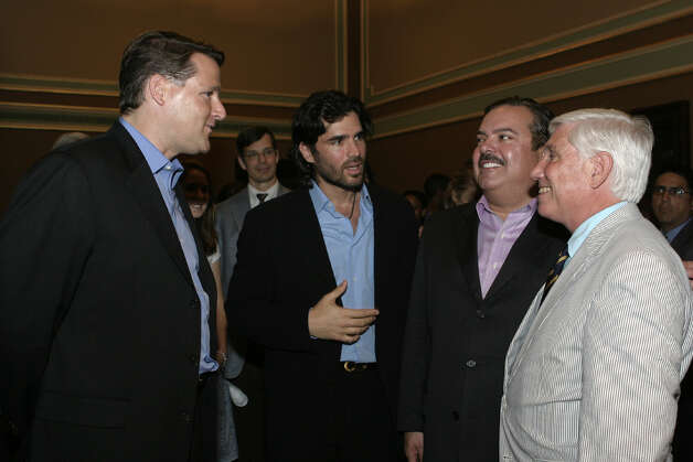 "Sean Wolfington, executive producer, Eduardo Verástegui, actor, Henry R. Muñoz III, chairman, Smithsonian Institute Latino Center, and George Pond, director of development of Justice Foundation,  were at the Empire Theater on June 25, 2007, for the private screening of ""Bella."" Photo: LELAND A. OUTZ, SPECIAL TO THE EXPRESS-NEWS / SAN ANTONIO EXPRESS-NEWS"