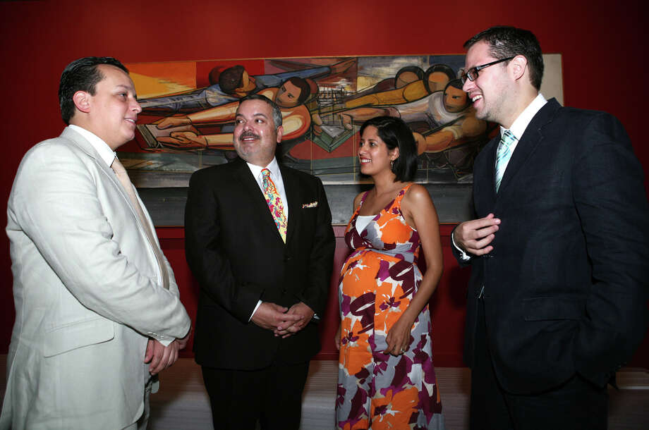 Hector Palhares, co-curator, Henry Muñoz III, Museo Alamedafounding chair , Tanya Melendez, projects manager Museo Soumaya, and Alfonso Marquéz were at the Media Preview of the works from Museo Soumaya de Mexico on June 24, 2008, at the Museo Alameda. Photo: LELAND A. OUTZ, SPECIAL TO THE EXPRESS-NEWS / SAN ANTONIO EXPRESS-NEWS