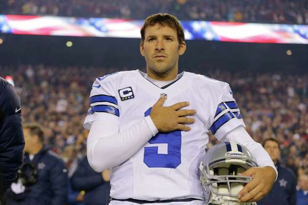 Dallas Cowboys quarterback Tony Romo (9) stands during the National Anthem before an NFL football game against the Washington Redskins Sunday, Dec. 30, 2012, in Landover, Md. (AP Photo/Alex Brandon) Photo: Alex Brandon, Associated Press / AP