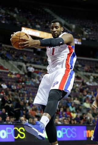 Detroit Pistons forward Andre Drummond (1) grabs a rebound against the Sacramento Kings in the first half of an NBA basketball game Tuesday, Jan. 1, 2013, in Auburn Hills, Mich. (AP Photo/Duane Burleson) Photo: Duane Burleson, Associated Press / FR38952 AP