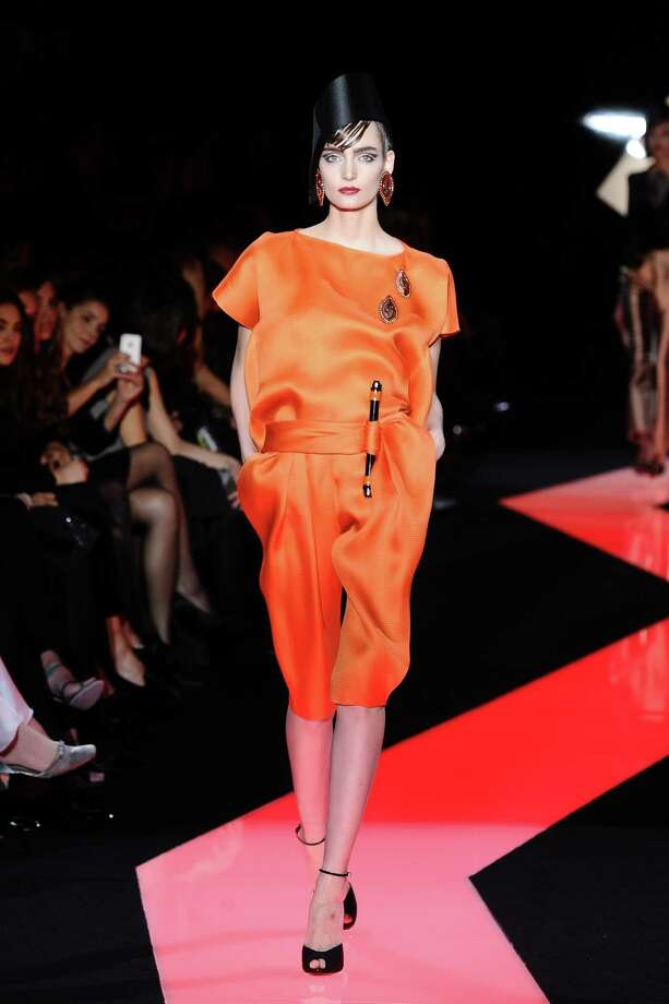 A model wears a creation by fashion designer Giorgio Armani. Photo: AP