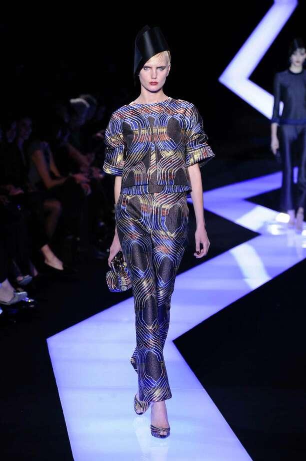 A model wears a creation by fashion designer Giorgio Armani. Photo: AP