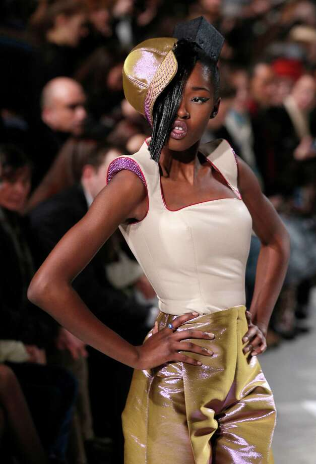 A model presents a creation by French fashion designer Julien Fournie. Photo: AP