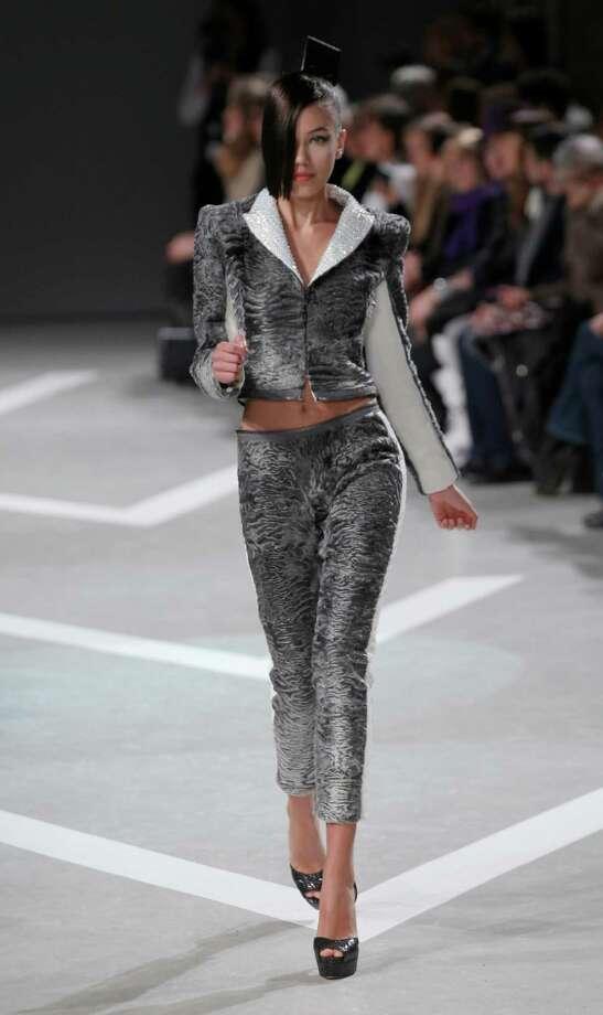 A model presents a creation by French fashion designer Julien Fournie. Photo: AP