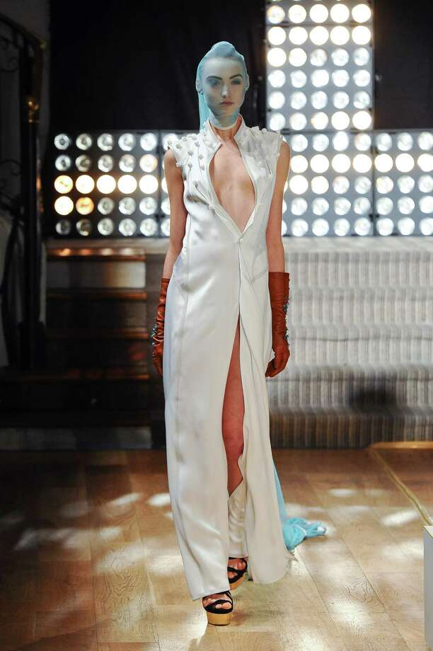 A model wears a creation by fashion designer Gustavo Lins. Photo: AP