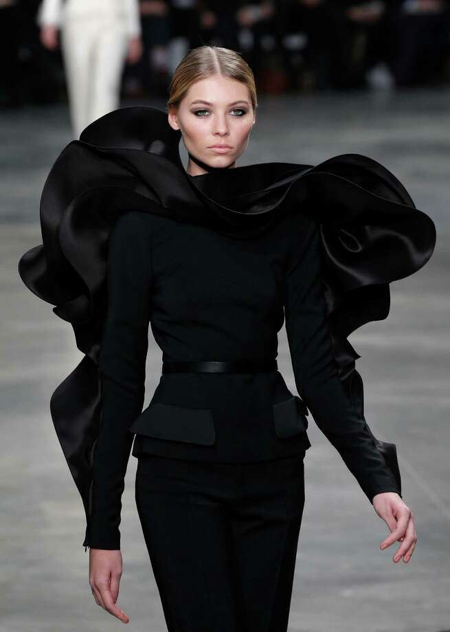 A model presents a creation by French fashion designer Stephane Rolland. Photo: AP