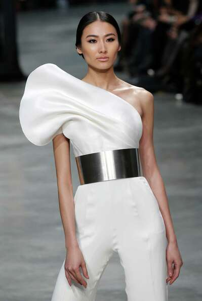 A model presents a creation by French fashion designer Stephane Rolland.