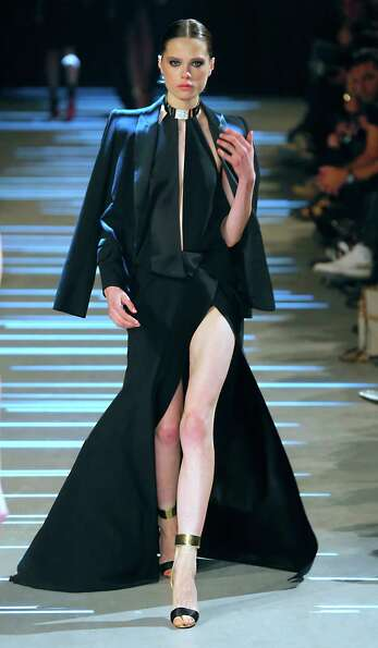 A model wears a creation by French fashion designer Alexandre Vauthier.