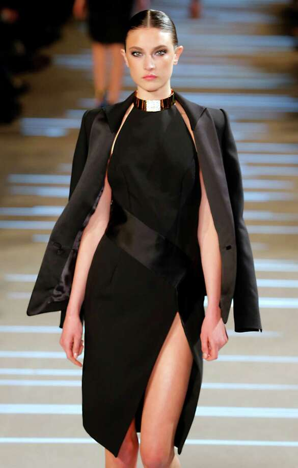 A model wears a creation by French fashion designer Alexandre Vauthier. Photo: AP