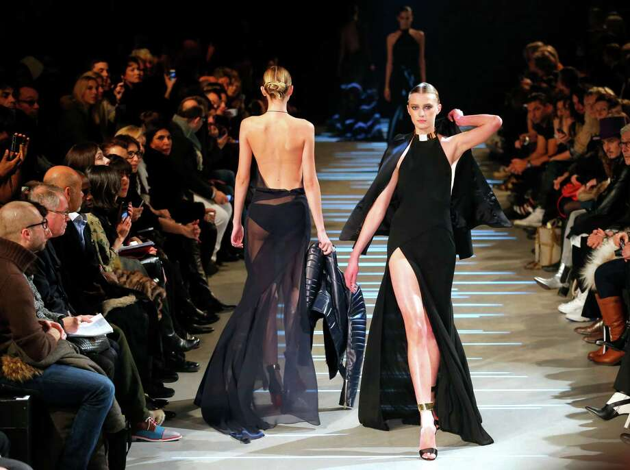 Models wear creations by French fashion designer Alexandre Vauthier. Photo: AP
