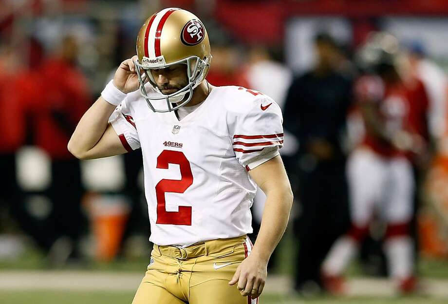 ATLANTA, GA - JANUARY 20:  Kicker David Akers #2 of the San Francisco 49ers reacts after he misses a 38-yard field goal in the third quarter against the Atlanta Falcons in the NFC Championship game at the Georgia Dome on January 20, 2013 in Atlanta, Georgia.  (Photo by Kevin C. Cox/Getty Images) Photo: Kevin C. Cox, Getty Images