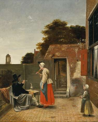 """A Man Smoking and a Woman Drinking in a Courtyard"" (c. 1658-1660), oil on canvas by Pieter de Hooch. Photo: Unknown"