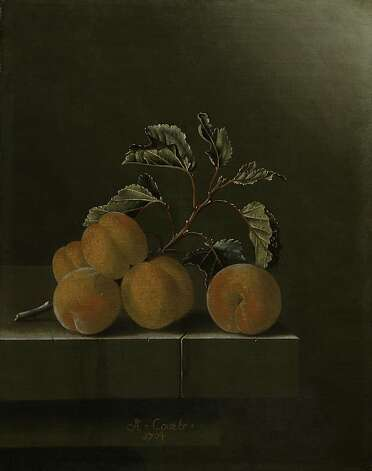 """Still Life with Five Apricots"" (1704) Oil on canvas by Adriaen Coorte   11.75"" x 9.25""  Royal Picture Gallery Mauritshuis, The Hague, Anonymous gift, 2006 Photo: Unknown"