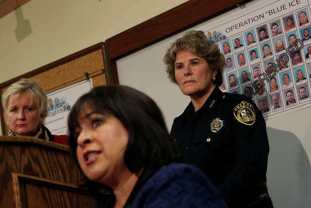 District Attorney Susan Reed, left, and Sheriff Susan Pamerleau, right, stand by as Texas State Senator Leticia Van de Putte, center, talks during a press conference about Operation Blue Ice, which targeted human trafficking and prostitution, in San Antonio at the Bexar County Sheriff's Office on Tuesday, Jan. 22, 2013. Photo: Lisa Krantz, San Antonio Express-News / © 2012 San Antonio Express-News