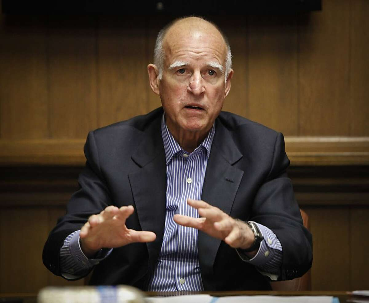 Governor Jerry Brown addresses the Chronicle editorial board on Thursday, Sep. 6, 2012 in San Francisco, Calif.