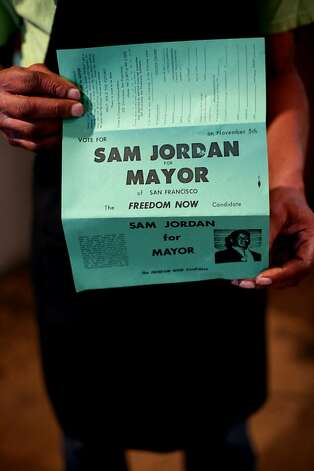 Allen Jordan holds a flyer from when his dad ran for mayor at Sam Jordan's in San Francisco, Calif., Monday, January 21, 2013.  The bar recently obtained landmark status. Photo: Sarah Rice, Special To The Chronicle