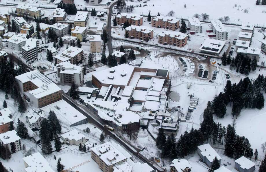 An areal view of the Congress Center in Davos, Switzerland, Tuesday, Jan. 22, 2013, the day before the start of the annual meeting of the World Economic Forum. (AP Photo/Michel Euler) Photo: Michel Euler