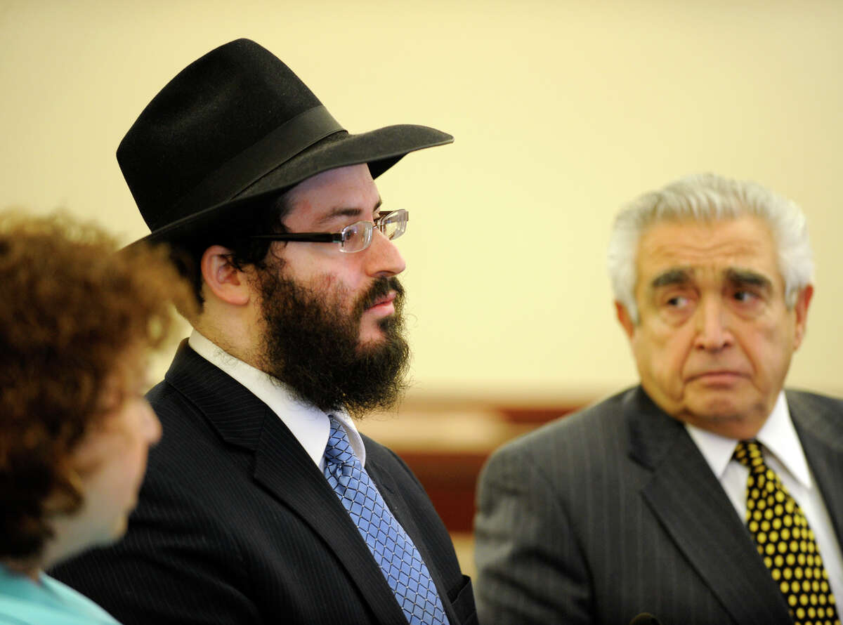 Yaakov Weiss is shown with his attorney Arnold Proskin at the Albany County Judicial Center in Albany, New York, on March 8, 2010. (Skip Dickstein/Times Union archive)