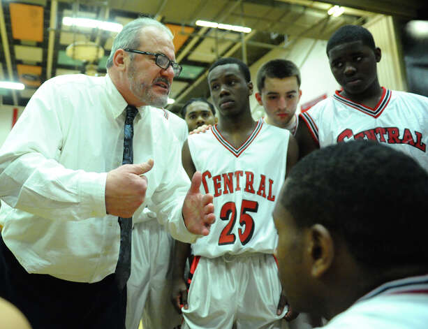 Central Head Coach Barry McLeod, during boys basketball action against Bassick in Bridgeport, Conn. on Tuesday January 22, 2013. Photo: Christian Abraham / Connecticut Post