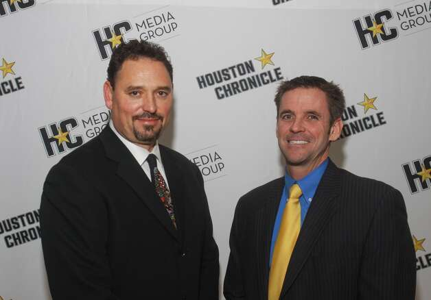 Alex Sanchez,  left,  and Chronicle President John T. O'Loughlin were among the crowd celebrating at the Houston Auto Show 30th Anniversary Preview Night, presented by Chronicle, on Tuesday.