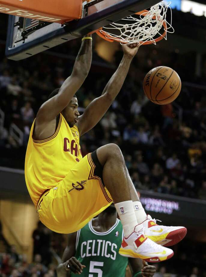 Cleveland Cavaliers' Tristan Thompson (13) dunks the ball against the Boston Celtics in the second quarter of an NBA basketball game Tuesday, Jan. 22, 2013, in Cleveland. (AP Photo/Tony Dejak) Photo: Tony Dejak