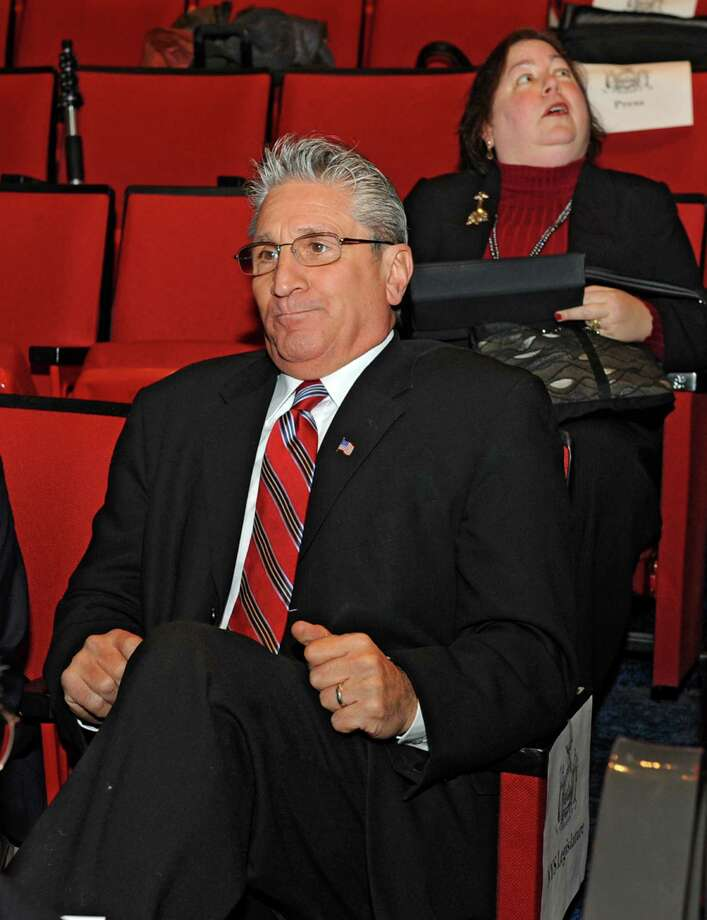 NYS Assemblyman James Tedisco takes his seat before Governor Andrew Cuomo delivers his budget proposal for fiscal year 2013-14 in the Hart Theater in The Egg on Tuesday Jan. 22, 2013 in Albany, N.Y. New York State Senator Liz Krueger sits behind him.  (Lori Van Buren / Times Union) Photo: Lori Van Buren