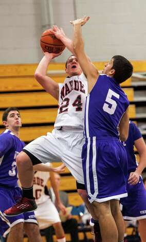Westhill high school vs. Fairfield Warde high school in a boys basketball game played at Fairfield Ludlowe high school, Fairfield CT on Tuesday January 22nd, 2013. Photo: Mark Conrad / Connecticut Post Freelance