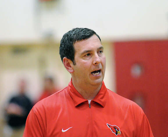 Greenwich High School boys basketball coach Bill Brehm during the boys high school basketball game between Greenwich High School and Norwalk High School at Greenwich, Tuesday night, Jan. 22, 2013. Photo: Bob Luckey / Greenwich Time