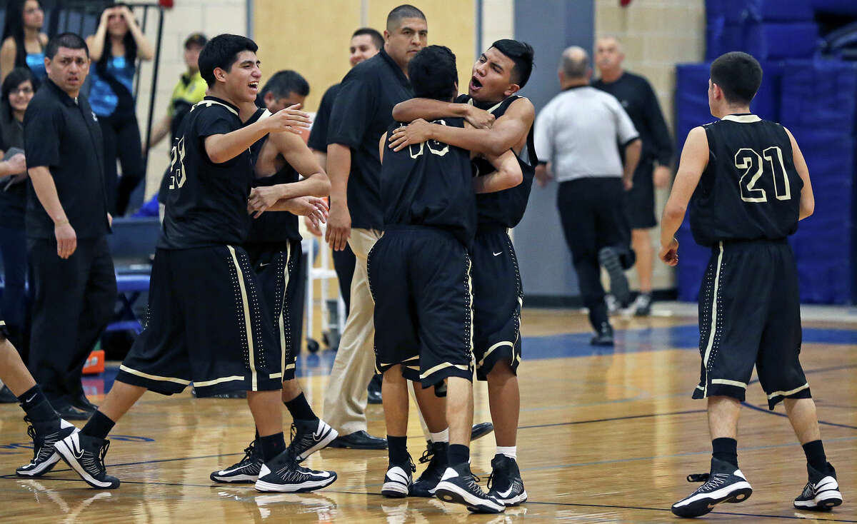 The Bears celebrate victory as Lanier hosts Edison in boys basketball at Lanier on January 22, 2013.