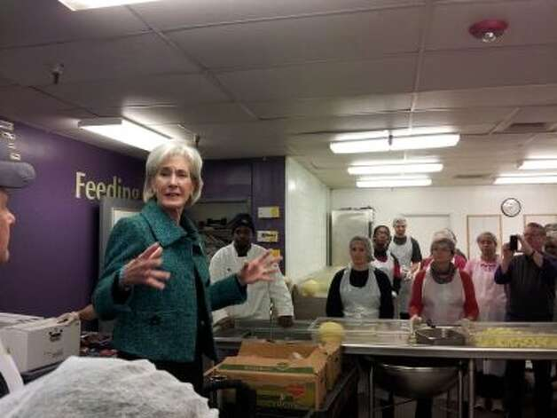 U.S. Health and Human Services Secretary Kathleen Sebelius speaks to volunteers at DC Central Kitchen on Saturday, Jan. 19, 2013. (Juan Sorto | Courtesy)