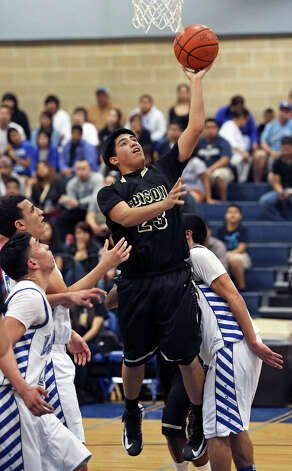 Bears forward Lorenzo Vela gets a layup as Lanier hosts Edison in boys basketball at Lanier on January 22, 2013. Photo: Tom Reel, San Antonio Express-News / ©2012 San Antono Express-News