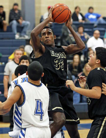Bears forward Phillip Johnson goes up in the lane as Lanier hosts Edison in boys basketball at Lanier on January 22, 2013. Photo: Tom Reel, San Antonio Express-News / ©2012 San Antono Express-News