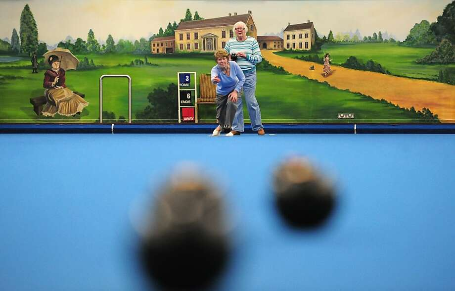 People enjoy a game of bowls during the World Indoor Bowls Championships at the Potters Holiday Camp on January 22, 2013 in Norwich, England. Photo: Jamie McDonald, Getty Images
