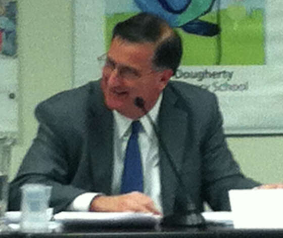 Superintendent of Schools David Title discusses his proposed budget for 2013-14 Tuesday during the Board of Education's first public review of his spending request for $156.2 million. Photo: Michael C. Juliano/Staff Photo