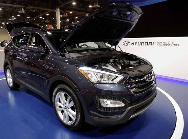 A Hyundai Santa Fe shown at the Houston Auto Show in Reliant Center, Tuesday, Jan. 22, 2013, in Houston.  The show runs from Jan. 23 through Jan. 27. Photo: Melissa Phillip, Houston Chronicle / © 2013 Houston Chronicle