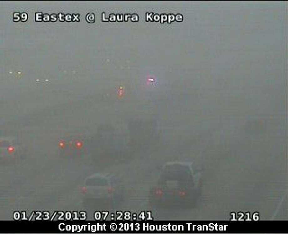 Traffic was snarled after a crash on the southbound Eastex Freeway near Laura Koppe Wednesday moring. Photo: Houston Transtar