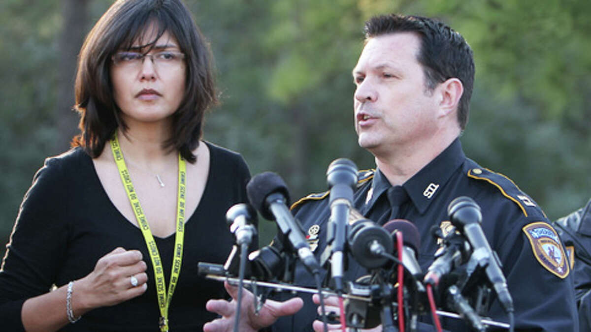Harris County Capt. Ken Melancon address the media at Lone Star College-North Harris Campus following a shooting on campus on Tuesday, Jan. 22, 2013.