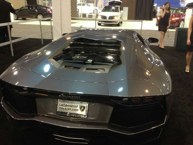 The Lamborghini Aventador sits on the Houston Auto Show floor. Photo: Dan X. McGraw
