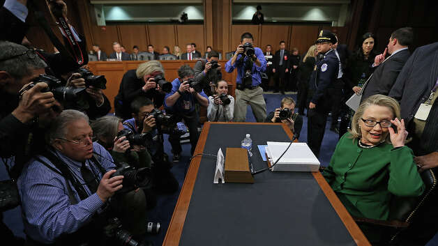 U.S. Secretary of State Hillary Clinton prepares to testify before the Senate Foreign Relations Committee on Capitol Hill January 23, 2013 in Washington, DC. Lawmakers questioned Clinton about the security failures during the September 11 attacks against the U.S. mission in Benghazi, Libya, that led to the death of four Americans, including U.S. Ambassador Christopher Stevens. Photo: Chip Somodevilla, Getty Images / 2013 Getty Images