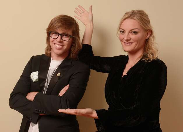 Professional snowboarder Kevin Pearce and filmmaker Lucy Walker pose for a portrait during the 2013 Sundance Film Festival at the Getty Images Portrait Studio at Village at the Lift on January 21, 2013 in Park City, Utah. Photo: Larry Busacca, Getty Images / 2013 Getty Images