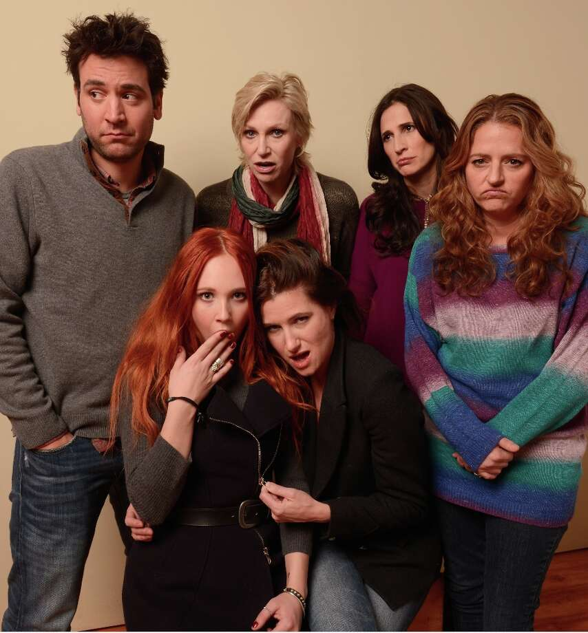 (L-R) Actors Josh Radnor, Juno Temple, Jane Lynch, Kathryn Hahn, Michaela Watkins and Annie Mumolo from the film Afternoon Delight pose for a portrait during the 2013 Sundance Film Festival at the Getty Images Portrait Studio at Village at the Lift on January 21, 2013 in Park City, Utah. Photo: Larry Busacca, Getty Images / 2013 Getty Images