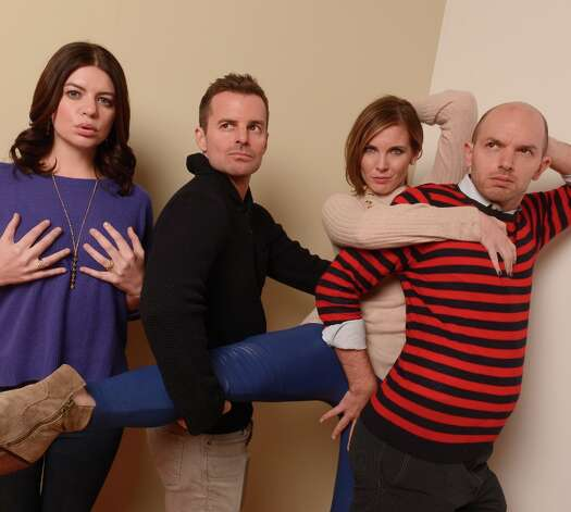 (L-R) Actor Casey Wilson, director Chris Nelson, actors June Diane Raphael and Paul Scheer from Ass Backwards pose for a portrait during the 2013 Sundance Film Festival at the Getty Images Portrait Studio at Village at the Lift on January 21, 2013 in Park City, Utah. Photo: Larry Busacca, Getty Images / 2013 Getty Images