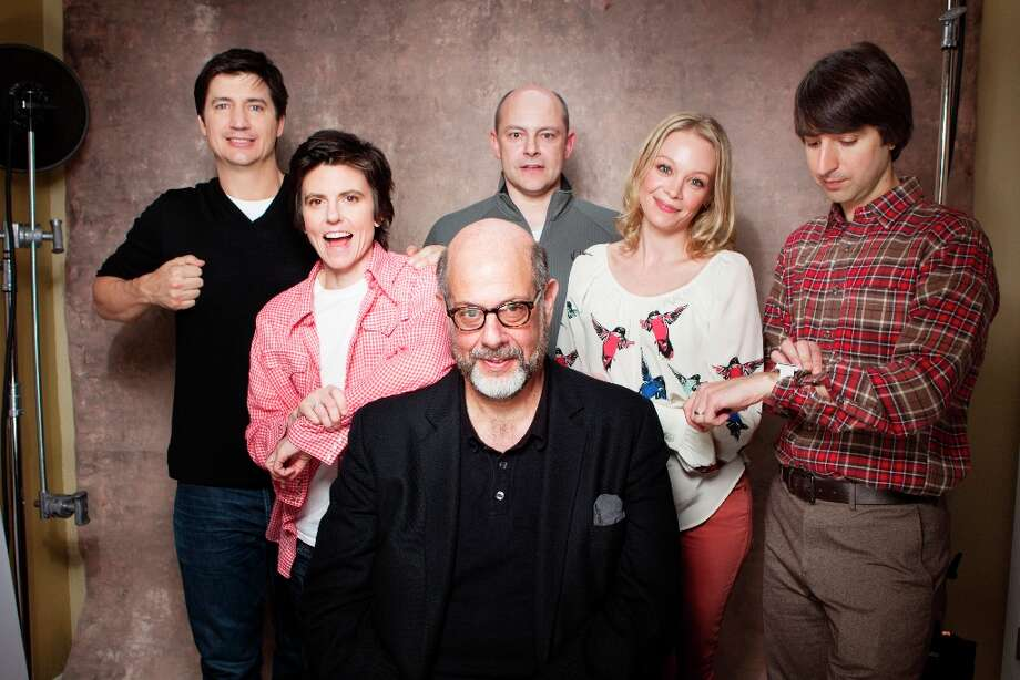 Actors, from left, Ken Marino, Tig Notaro, Rob Corddry, Fred Melamed, Alexandra Holden and Demetri Martin from the film In A World pose for a portrait during the 2013 Sundance Film Festival on Sunday, Jan. 20, 2013 in Park City, Utah. (Photo by Victoria Will/Invision/AP Images) Photo: Victoria Will, Associated Press / Invision