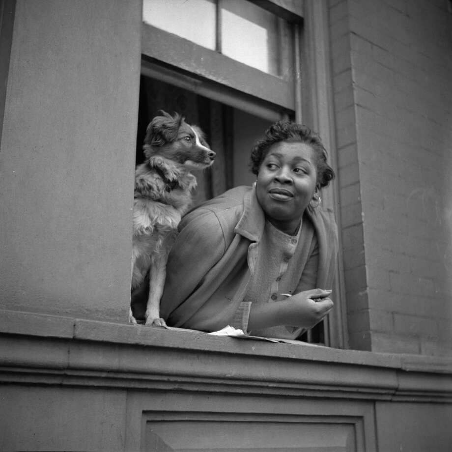 """A woman and her dog in Harlem, NY, 1943,"" from ?Gordon Parks: 100 Moments,? which opens Saturday at the State Museum in Albany."