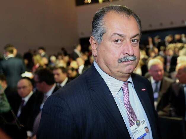 Andrew Liveris, chairman and chief executive officer of Dow Chemical Co., arrives for the opening keynote speech on the first day of the World Economic Forum (WEF) in Davos, Switzerland, on Wednesday, Jan. 23, 2013. World leaders, Influential executives, bankers and policy makers attend the 43rd annual meeting of the World Economic Forum in Davos, the five day event runs from Jan. 23-27. Photographer: Chris Ratcliffe/Bloomberg *** Local Caption *** Andrew Liveris Photo: Chris Ratcliffe, Bloomberg / Copyright 2013 Bloomberg Finance LP, All Rights Reserved.